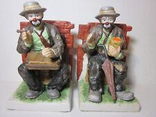 Emmett Kelly Jr Porcelain Bookends Set Signature Collection Flambro Vintage Rare