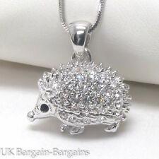 Cute White Gold Plating Crystal Porcupine Hedgehog Charm Pendant Necklace UK