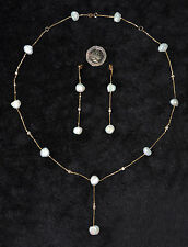 P4 Handmade 18k Gold, Diamonds & Pearls Necklace & Earrings Set - Gift