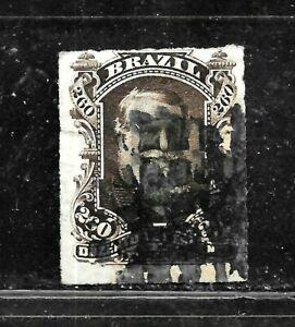 HICK GIRL- USED BRAZIL STAMP   SC#74   1878  EMPEROR DOM PEDRO      E1441