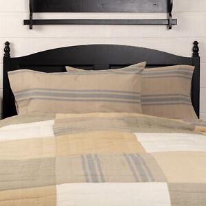 VHC Brands Farmhouse King Grain Sack Stripes Pillow Case Set of 2 Bedroom Decor