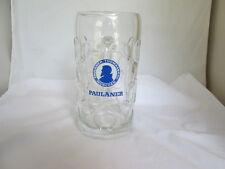 """Huge 8"""" Paulaner Munchen Germany 1-Liter Dimpled Glass Beer Mug Blue Logo"""