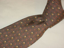 HERMES TIE 946 IA Rope Ball Star Shape Gold Blue on Brown Silk Necktie