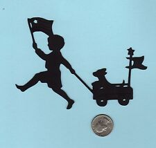 """Patriotic Boy with Flags and Dog in Wagon Silhouette Die Cuts - 2 ea, 4"""" tall"""