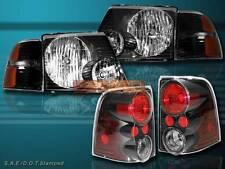 2002-2005 FORD EXPLORER HEADLIGHTS JDM BLACK 4 DR W/ CORNER & TAIL LIGHTS
