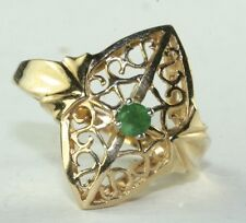 BNWOT 14K GOLD FILIGREE NATURAL EMERALD RING SIZE 6.25
