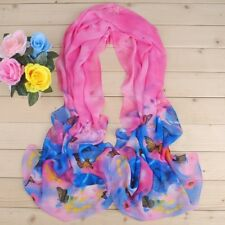 Blue & Pink Butterfly Floral Mix Lady Women Shawl Wrap Scarf (B5-02)