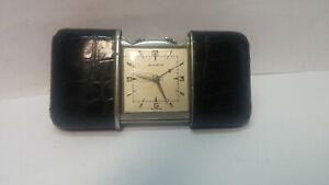 Vintage Movado Ermeto Alarm Schiebe Uhr.Reptilienhaut beschichtet.