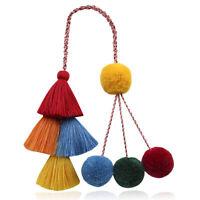 Thread Multi-Colored PomPom Tassel Handbag Ring Key Chain Bag Charm Handmade DIY