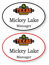 2 WHITE OVAL TEXAS ROAD HOUSE PERSONALIZED NAME BADGES MAGNETIC BACK