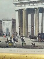Very Old and Vintage 1851 Tallis Engraving Framed London & North Station Euston