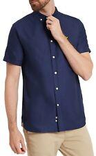 Lyle & Scott Men Cotton Oxford Shirt Regular Fit Short Sleeve Button Down Collar XL Navy Blue