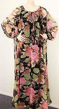 Vintage 70s Maxi Dress Pink Black Floral Sz 12 14 B40 W40 H44 Retro Clothing