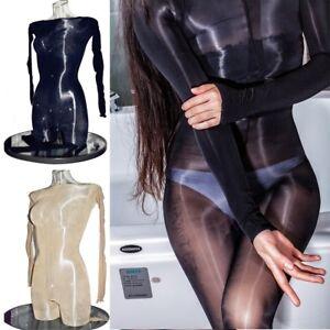 8D Lady Plus Size Bodysuit Super Shiny Glossy Bodystocking Sheer Nylon Nightwear