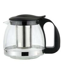 1100ml GLASS TEAPOT WITH STRAINER INFUSER HERB TEA COFFEE MAKING POT LEAF - 1929