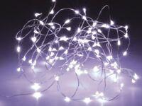 LED-Lichterkette, Silberdraht, 3M 30 LEDs, kaltweiß, Batteriebetrieb