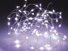 LED string light, silver wire, 10 LEDs, cool white, battery operation