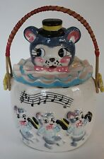 3 THREE DANCING BEARS COOKIE CANDY BISCUIT HANDLE JAR JAPAN LID MUSICAL