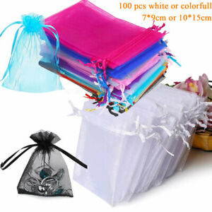 100Pcs Organza Wedding Party Favor Gift Bags Candy Sheer Bag Jewelry Pouches New