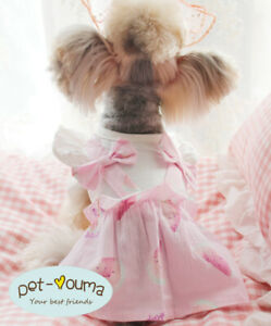 Small Girl Dog Dress Clothes Puppy Apparel Skirt Tutu Cotton Shirt for Shih Tzu
