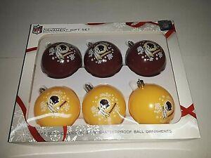 Washington Redskins NFL 6 Pack Shatterproof Ornament Gift Set