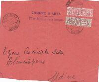 ITALIA R.S.I. 1944 front. di lettera con pacchi p. 5c +25c da ARTA DEL FRIULI