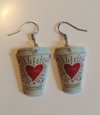Starbucks Valentines Day Cup HANDMADE Plastic Charm Earrings Coffee Frappucino