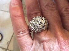 Vintage Dome 18 K GE S/A Ring with Rhinestones