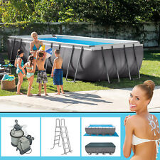 Intex 549x274x132 Swimming Pool set Rechteck Stahlwand Frame Schwimmbad 28352gs