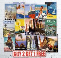 A2 Large Vintage Retro Italian Italy Travel Posters Garda Amalfi Venice Rome