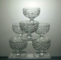 Lead Crystal Cut Glass Heavy Footed Dessert Dishes Ice Cream Bowls set of 6