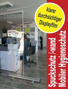 RollUp Display Hygieneschutz Schutzwand Raumteiler transparent Spuckschutz klar