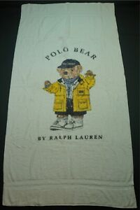 Rare VTG RALPH LAUREN Spell Out Raincoat Polo Bear Bath Beach Towel 90s Stadium