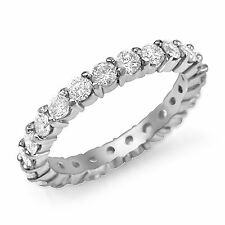 1.00Ct Round Diamond Eternity Women Wedding VS2 Bridal Band Ring 14k Gold White