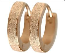 Neue Edelstahl Creolen Klapp Kreolen Ohrringe rosegold diamantiert schön Damen