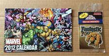 2012 MARVEL COMICS PROMOTIONAL CALENDAR + Fantastic Four Thing Die-Cut Magnet