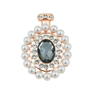 Vintage Style Oval Pearls Cluster Grey Crystal Stone Evening Brooch Women BR385
