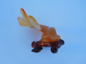 Beautiful Early 1900s Chinese Hand Carved Agate Koi Fish Lapidary Sculpture 🐟