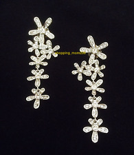 "Lia Sophia ""Daisy Dangle"" Silver Tone with Cut Crystals Earrings"