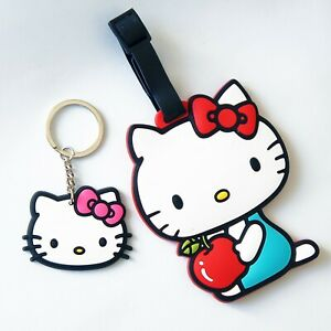 Hello Kitty Rubberized Plastic Luggage Backpack Name Tag ID Holder with Keychain