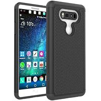 For LG V20 - BLACK DROP-PROOF HYBRID CASE DUAL LAYER ARMOR DEFENDER RUGGED COVER