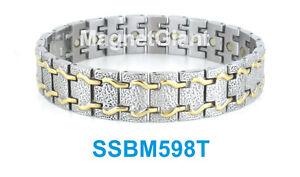 SSBM598T Gold and Silver Men's magnetic stainless steel link bracelet 5000 Gauss