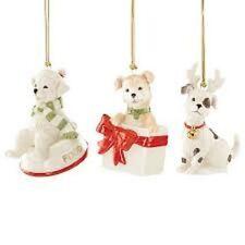 Beautiful Playful Set Of Ornaments Lenox 3 Dogs Pups Critters Furry Friends Nib
