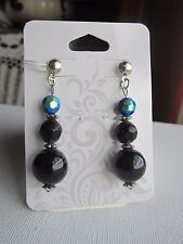 Iridescent Black Glass and Steel Earrings