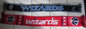 Lot of 2 NBA Washington Wizards Acrylic Scarves Red and Blue EUC