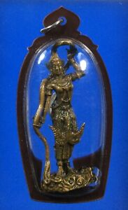 Mother Earth Deity Brass Statue Defeat Mara Talisman Pendant Thai  Amulet