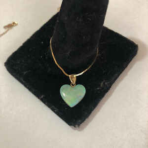 "11 mm natural Opal Heart pendant, 15"" 14k delicate box chain"