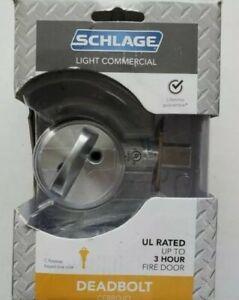 Schlage Light Commercial Satin Chrome Single Cylinder Deadbolt Door Lock