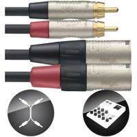 Câble 2 RCA Mâle vers 2 XLR Mâle 3 Broches Connecteurs REAN Long 3 METRES