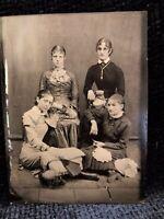 Antique Victorian Tintype Portrait, Four Young Victorian Women w/Bonnets